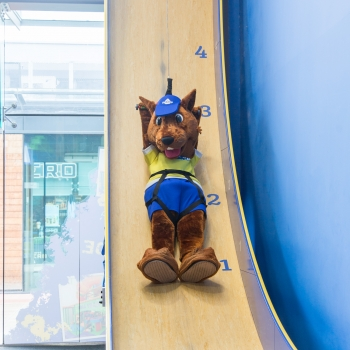 A squirrel mascot on a slide