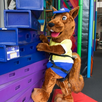 A squirrel mascot climbing